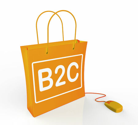 b2c: B2C Bag Representing Online Business and Buying Stock Photo