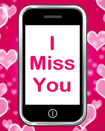 i miss you: I Miss You On Phone Meaning Sad Longing Relationship Stock Photo