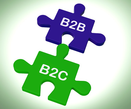 b2c: B2B And B2C Puzzle Showing Corporate Partnership Or Consumer Relations Stock Photo