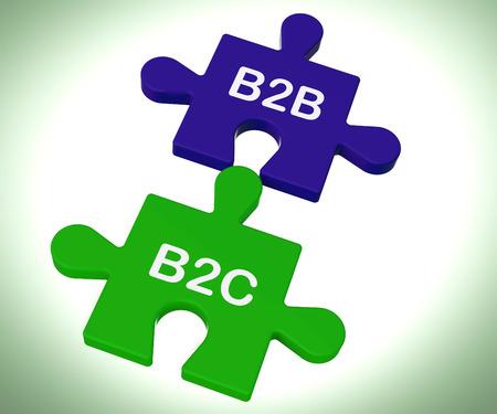 b2b: B2B y B2C Puzzle Mostrando Sociedad corporativa o las relaciones de consumo