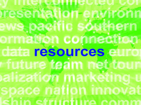 Resources Word Cloud Showing Assets Human Financial Input Reklamní fotografie