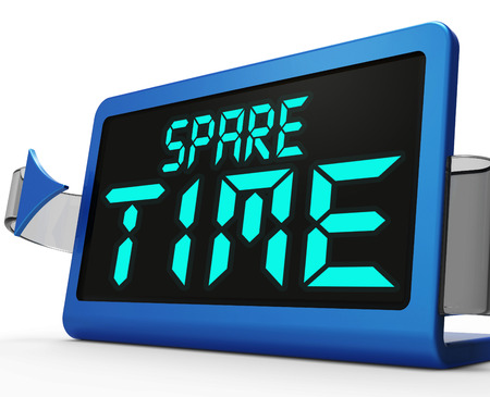 spare time: Spare Time Clock Meaning Leisure Or Relaxation Stock Photo