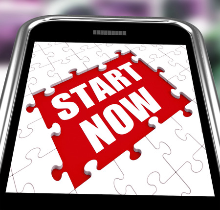 commence: Start Now Smartphone Showing Commence Or Begin Immediately Stock Photo