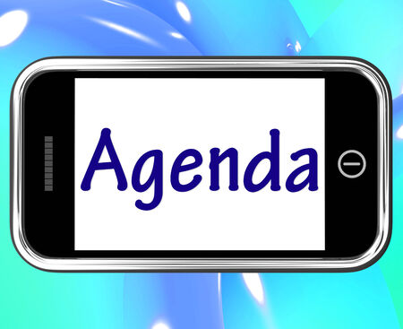 Agenda Smartphone Meaning Online Schedule Or Timetable photo