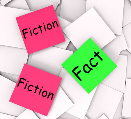 untrue: Fact Fiction sticky Notes Meaning Correct Or Falsehood Stock Photo
