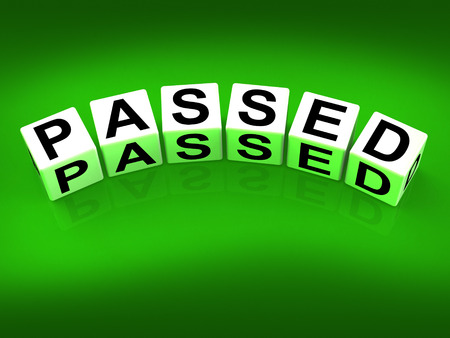 Passed Blocks Referring to Satisfied Verified and Excellent Assurance Stock Photo - 27880705