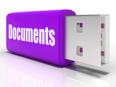 pen drive: Documents Pen drive Showing Digital Information Documents And Files Stock Photo