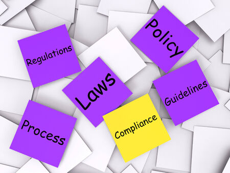 complied: Compliance sticky note Meaning Adhering To Rules And Processes Stock Photo