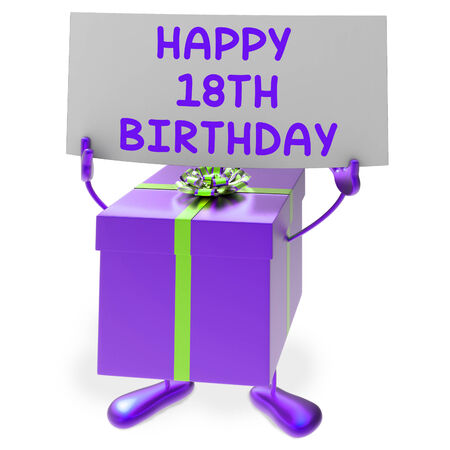 18th: Happy 18th Birthday Sign and Gift Showing Eighteenth Party Stock Photo
