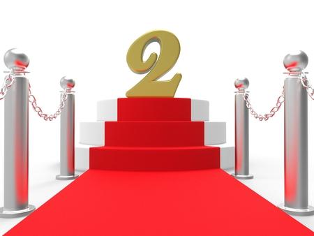 Dos de oro sobre el Red Carpet Mostrando Películas Premios o segundo lugar