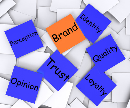 branded: Brand Post-It Note Meaning Company Marketing And Identity Stock Photo