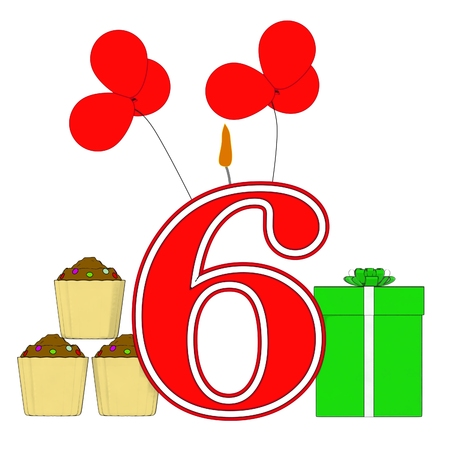 Number Six Candle Meaning Festive Occasion Or Decorated Celebration photo
