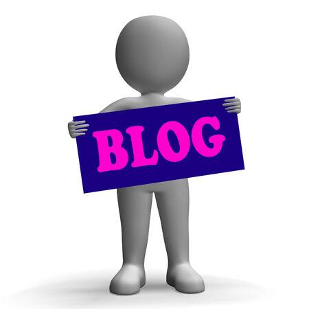 Blog Sign Character Showing Blogging And Social Media