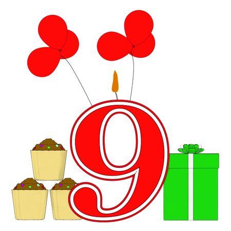 number nine: Number Nine Vela Mostrando adorna el partido o el cumplea�os Celebrando Foto de archivo