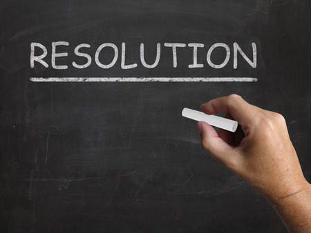 outcome: Resolution Blackboard Meaning Solution Settlement Or Outcome Stock Photo