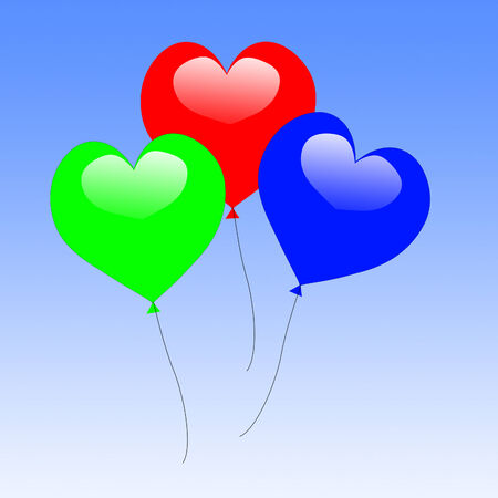 engagement party: Colourful Heart Balloons Showing Wedding Feast Or Engagement Party