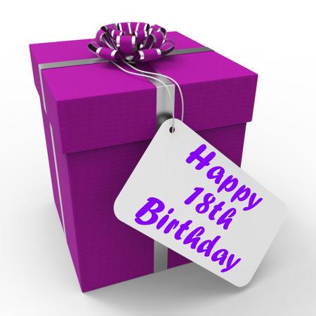 the eighteenth: Happy 18th Birthday Gift Showing Celebrating Eighteen Years