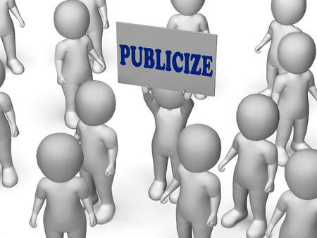 publicize: Publicize Board Character Showing Product Advertising Marketing Or Business Publicity