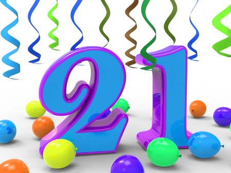 twenty one: Number Twenty One Party Meaning Colourful And Bright Decoration And Adornments