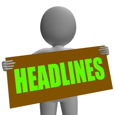 breaking news: Headlines Sign Character Showing Newspaper Headlines Important Or Breaking News Stock Photo