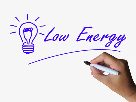 Low Energy and Lightbulb Indicating Less Power or Eco-friendly Stock Photo