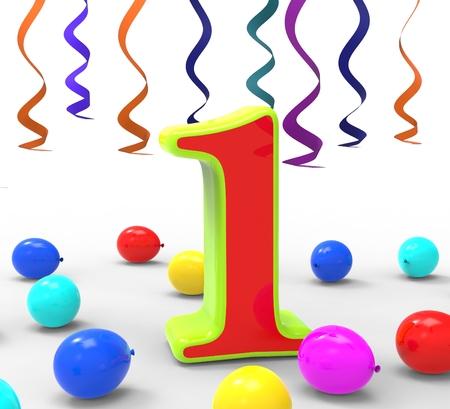numero uno: Number One Partito Mostrando Ghirlande coriandoli e palloncini