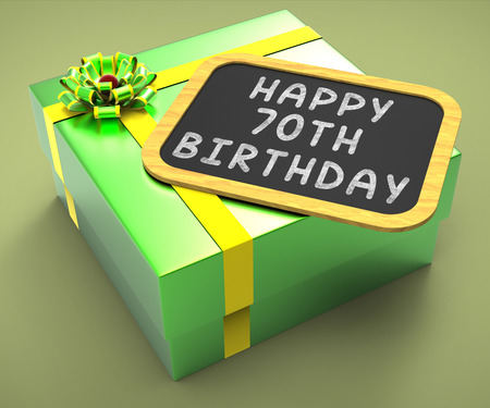 seventieth: Happy Seventieth Birthday Present Meaning Grandfather Birthday Or Anniversary Stock Photo