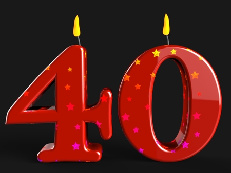 Number Forty Candles Showing Party Decorations Or Birthday Cake photo