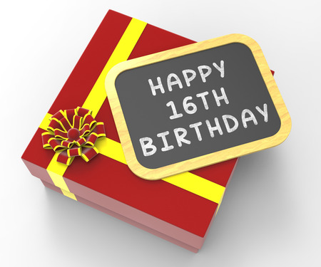 sweet sixteen: Happy Sixteenth Birthday Present Showing Sweet Sixteen Celebrations Or Party Stock Photo
