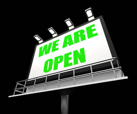 feestelijke opening: Wij zijn Open Teken Vertegenwoordigen Grand Opening en Inhuldiging