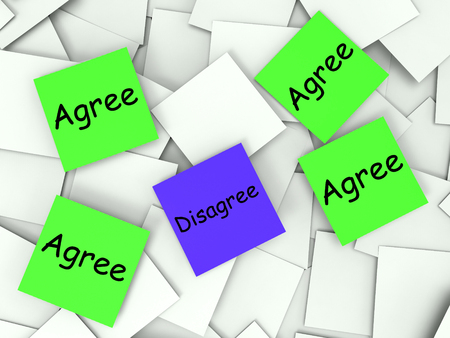 disagreed: Agree Disagree Notes Showing Supporting Or Contrary To