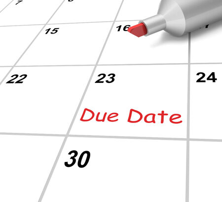 Due Date Calendar Meaning Submission Time Frame Stock Photo, Picture ...