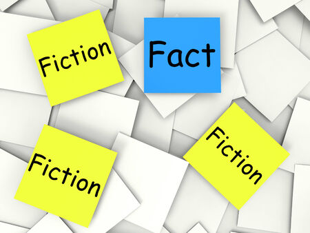 Fact Fiction Notes Showing Factual Or Untrue photo