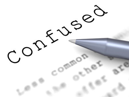 baffled: Confused Word Meaning Puzzled Perplexed And Dont Understand Stock Photo