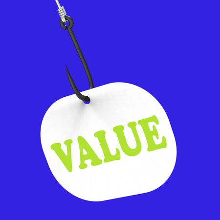 importance: Value On Hook Shows Great Significance Worth Or Importance Stock Photo