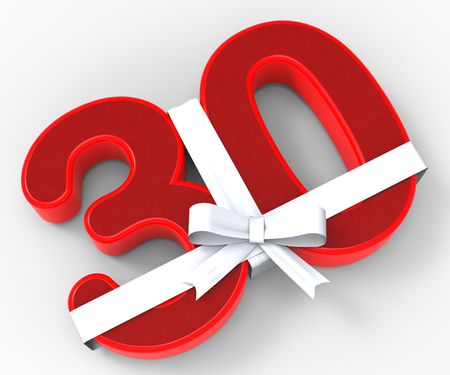 creative design: Number Thirty With Ribbon Meaning Creative Design Or Event Adornments