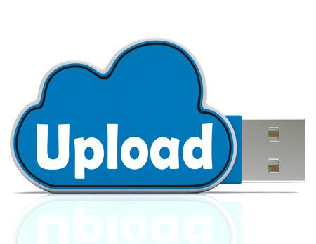 uploading: Upload Cloud Pen drive Meaning Website Uploading Sharing And Data Transfer Stock Photo