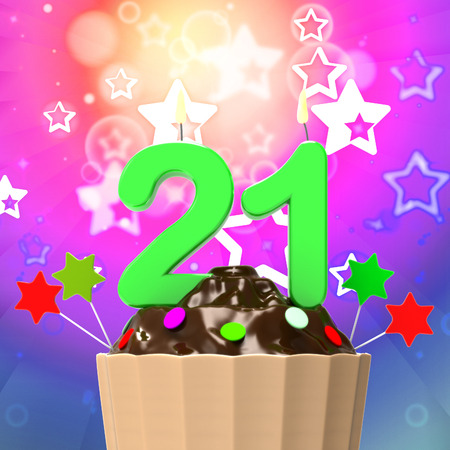 Twenty One Candle On Cupcake Meaning Colourful Celebration And Happiness photo
