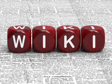 wiki: Wiki Dice Showing Information Knowledge And Answers Stock Photo