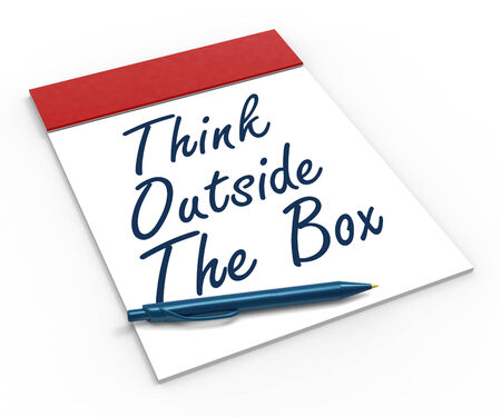Think Outside The Box Notebook Meaning Creativity Innovative Or Brainstorming photo