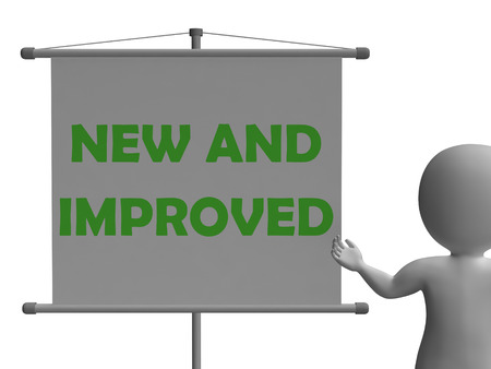new and improved: New And Improve Board Showing Innovation Upgrade And Improvement