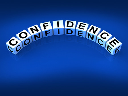 certainty: Confidence Dice Meaning Believe In Yourself And Certainty Stock Photo