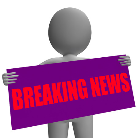 newsflash: Breaking News Sign Character Meaning News Update And Newsflash Stock Photo