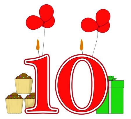 number ten: Number Ten Candles Meaning Birthday Presents And Decorated Cupcakes Stock Photo