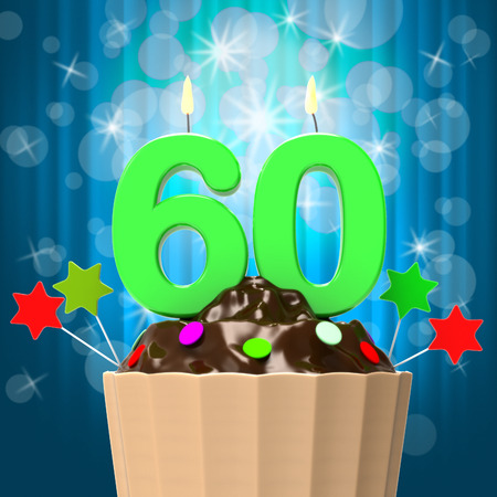 sixty: Sixty Candle On Cupcake Meaning Sixtieth Birthday Anniversary And Celebration
