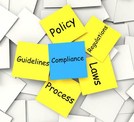 Compliance Opmerking Resultaat voldoen aan regelgeving en beleid Stockfoto