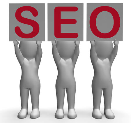 optimized: SEO Banners Meaning Optimized Web Search And Development Stock Photo