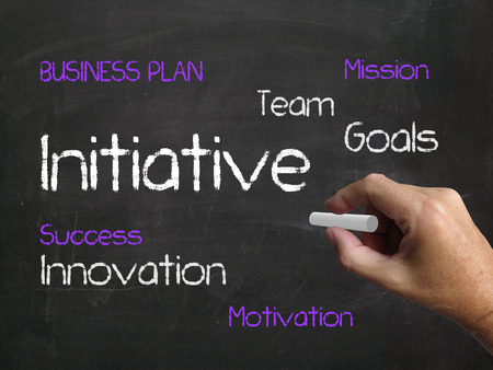 initiative: Initiative on Chalkboard Referring to Motivation Enterprise and Drive