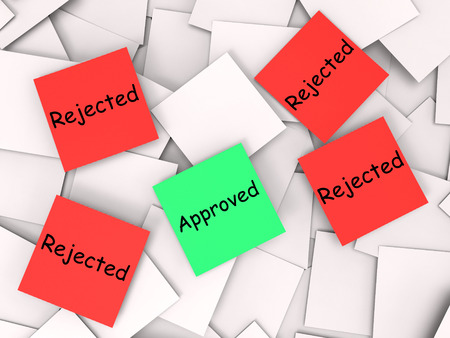 unsatisfactory: Approved Rejected Notes Showing Accepted Or Refused Stock Photo