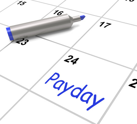 Payday Calendar Showing Salary Or Wages For Employment